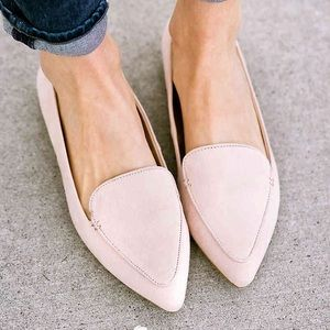 Blush suede loafers pointed toe EUC 7.5